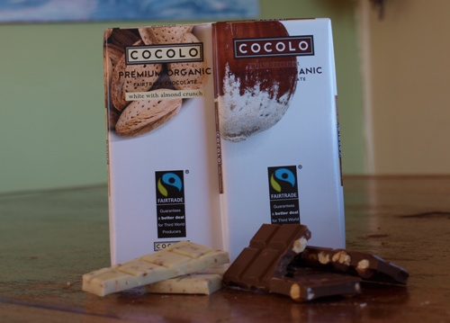 Milk Hazelnut or White Organic Fairtrade Chocolate in 100g bars