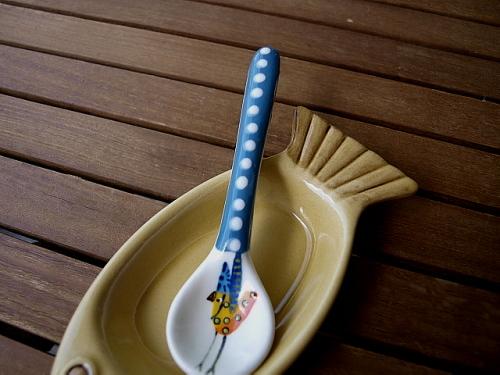 ceramic relish spoon - blue