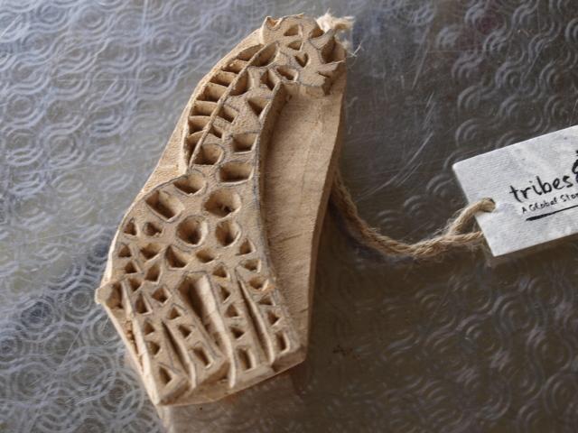 wooden block print giraffe