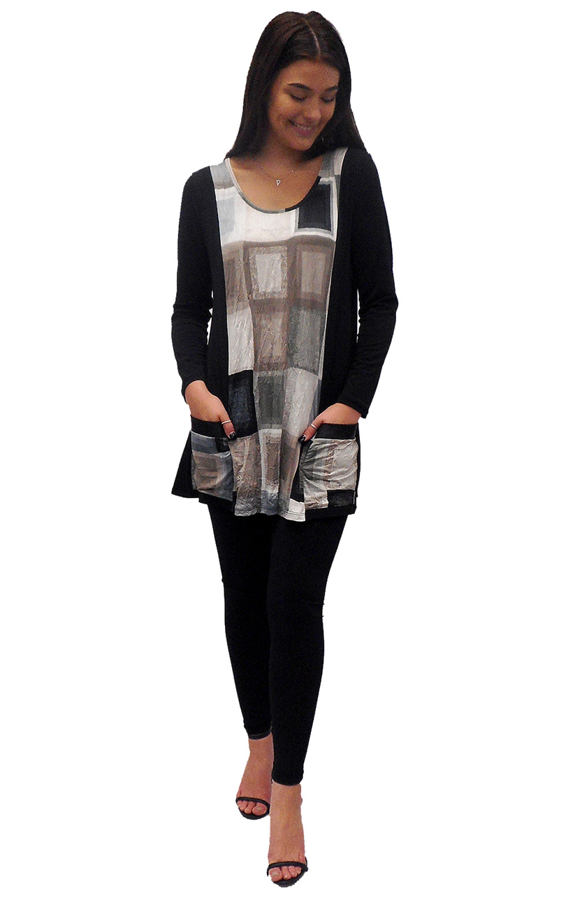 Sarah contrast tunic with leatherette trim