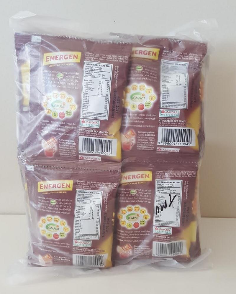 40 sachet Energen Milk Cereal Drink Chocolate Vanilla Sereal Cokelat Vanila 29g 3