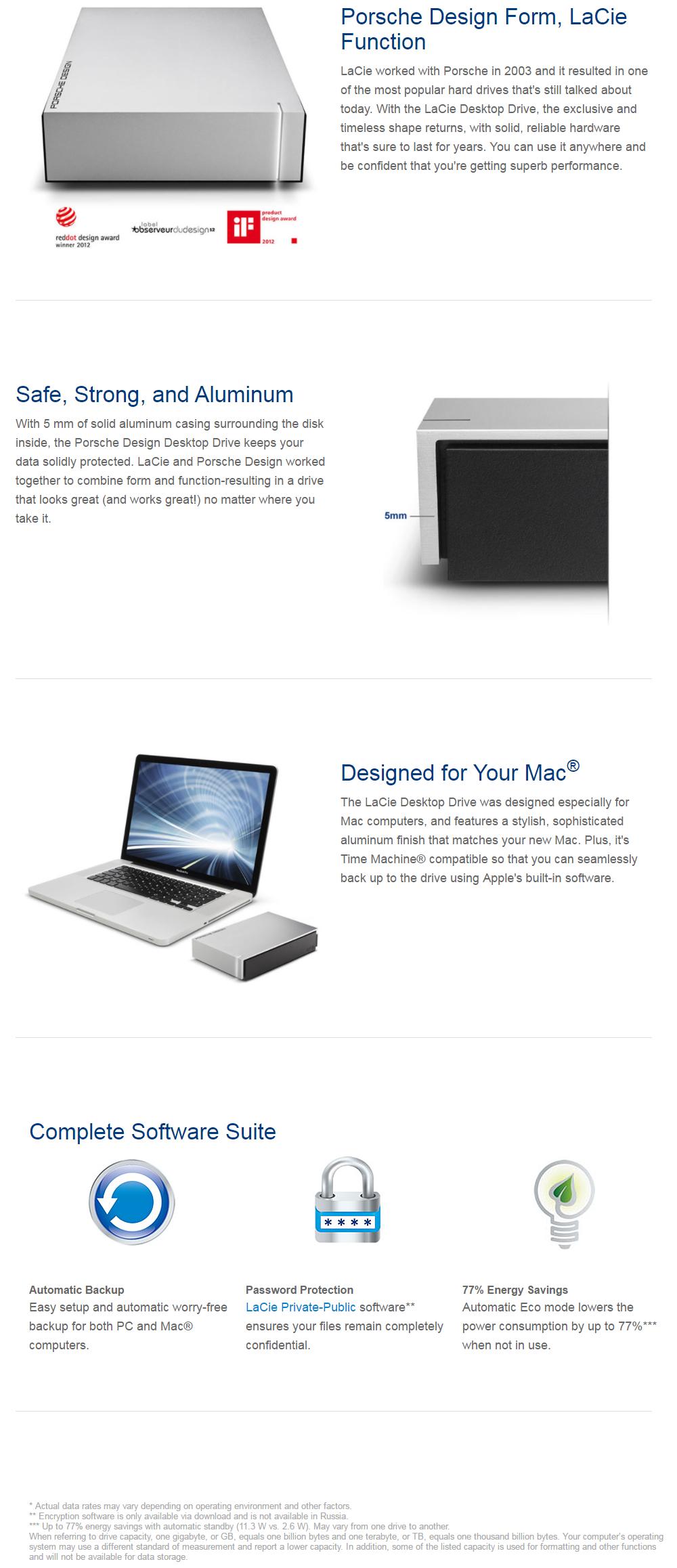 lacie porsche design 4tb usb3 0 desktop drive stew4000400. Black Bedroom Furniture Sets. Home Design Ideas