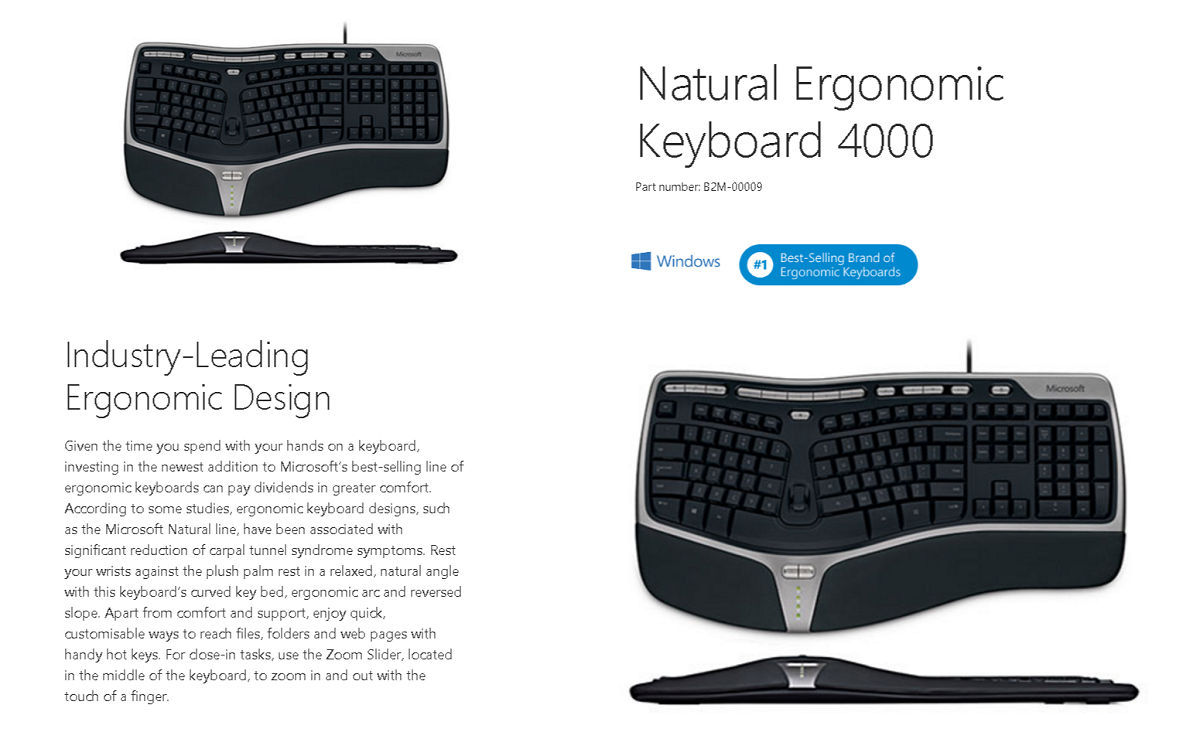 microsoft natural ergonomic keyboard 4000 wired b2m 00009 shopping express online. Black Bedroom Furniture Sets. Home Design Ideas