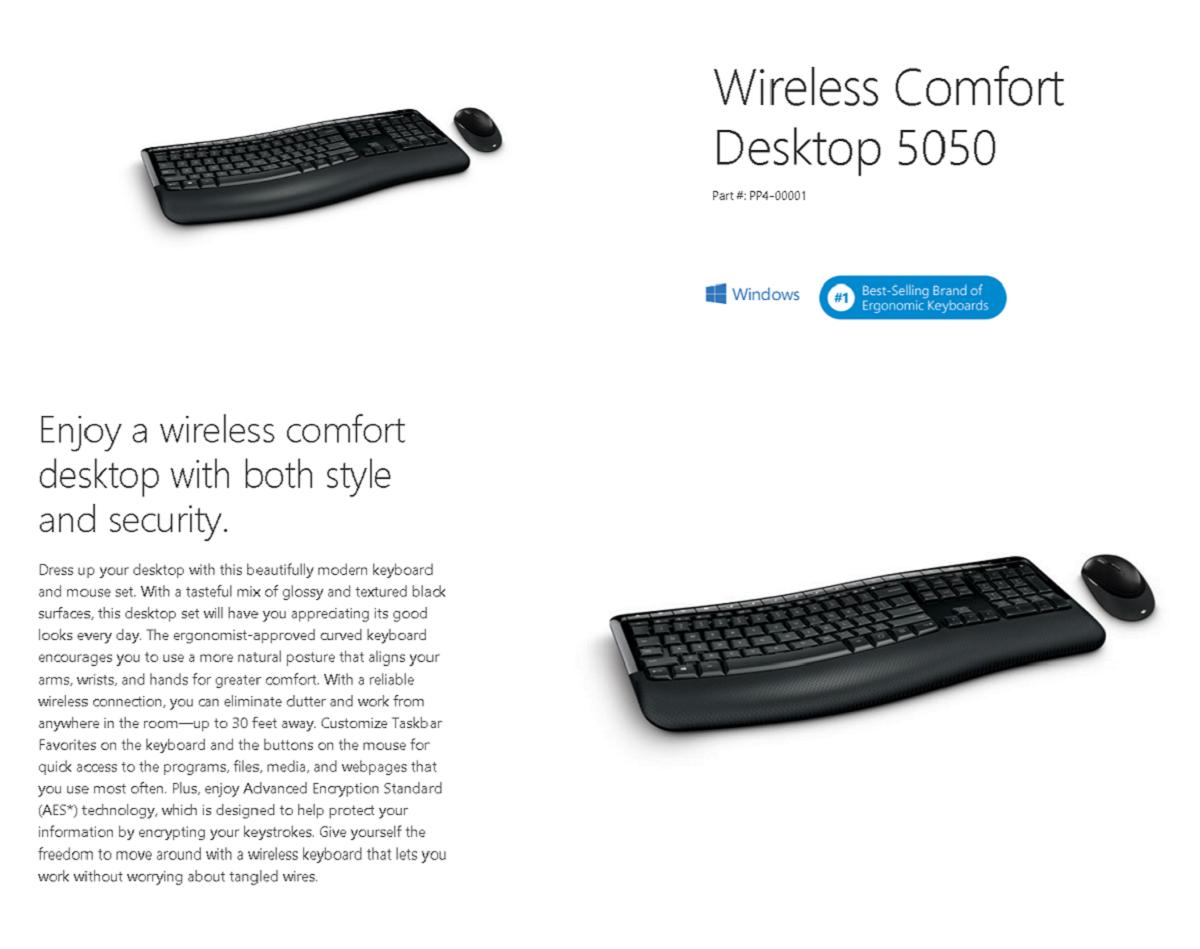 microsoft wireless comfort desktop 5050 pp4 00020 shopping express online. Black Bedroom Furniture Sets. Home Design Ideas