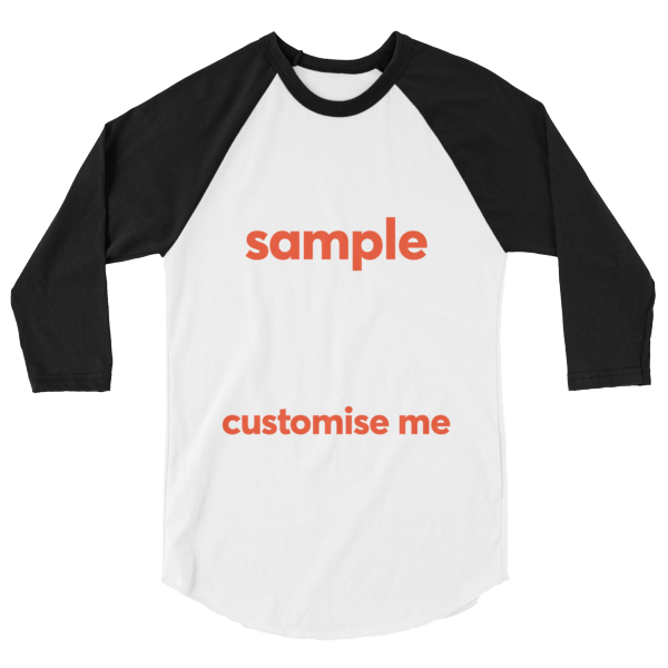 Customisable 3/4 sleeve raglan shirt