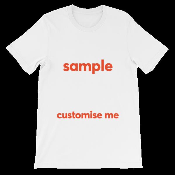 Customisable Unisex short sleeve t-shirt