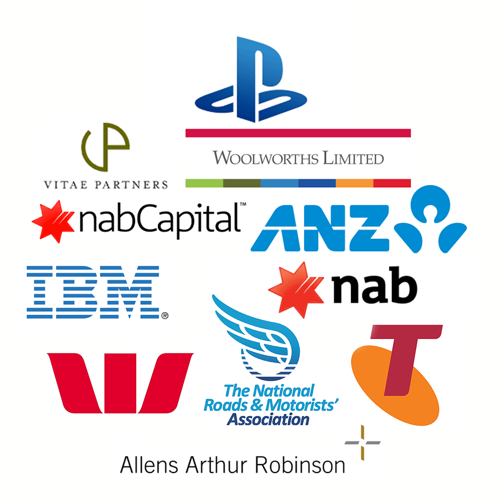 Logos of client organisations - Vitae Partners, playstation, woolworths, anz, ibm, nab, nabcapital, nrma, telstra, allens arthur robinson