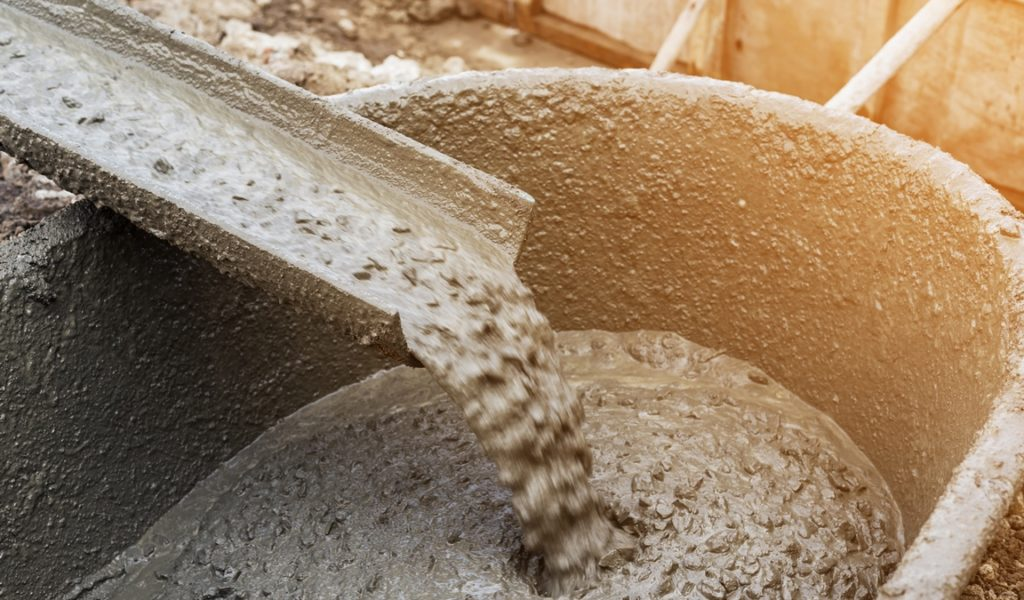 Cement pouring during construction