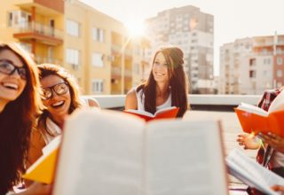 Group of students with books