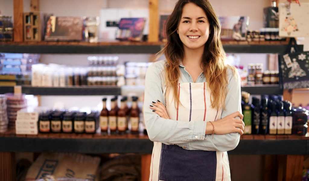Entrepreneur standing in shop