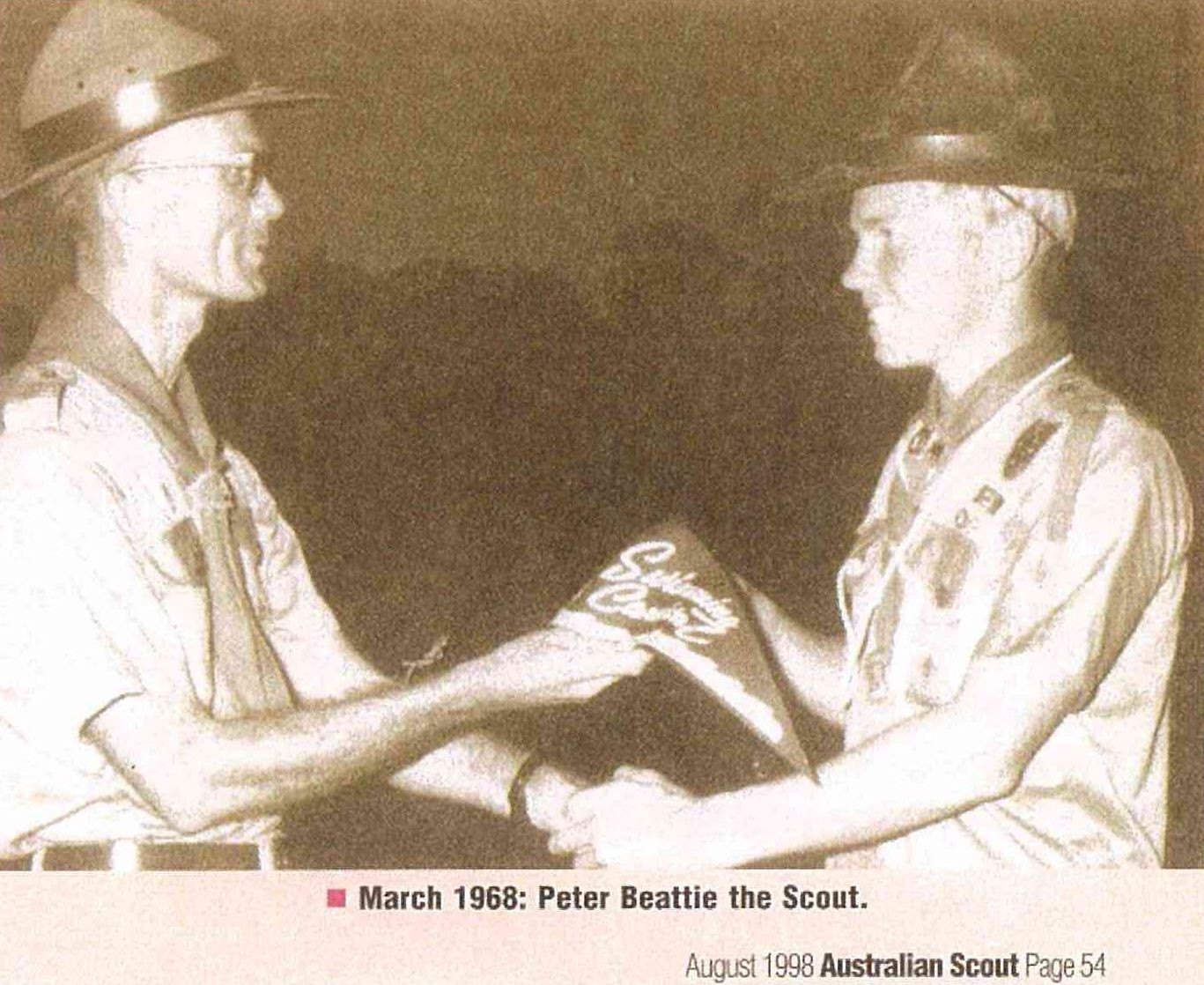 Peter Beattie with Scout Leader in 1968!