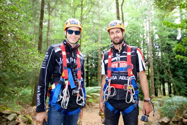 Rick Kelly and Fabian Coulthard participated in the Hollybank Treetops Adventure yesterday in Tasmania