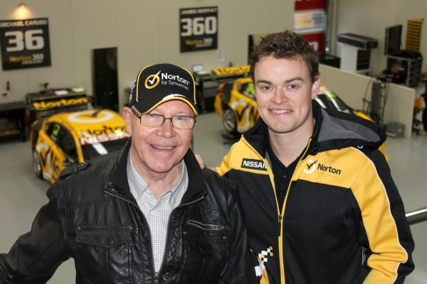 James (right) with father Allan Moffat
