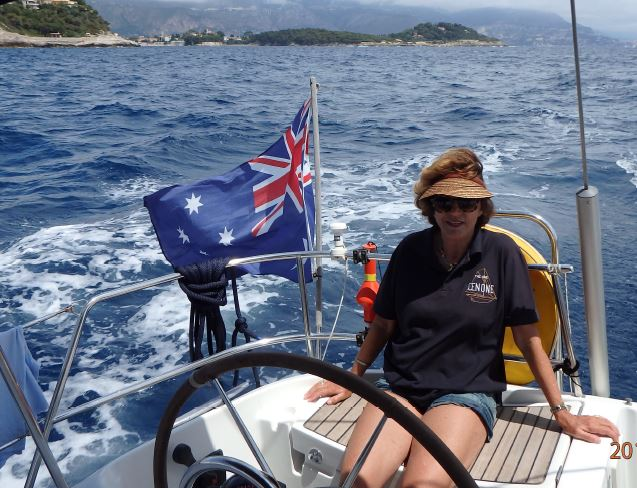 Hellen Gunnersen on her yacht