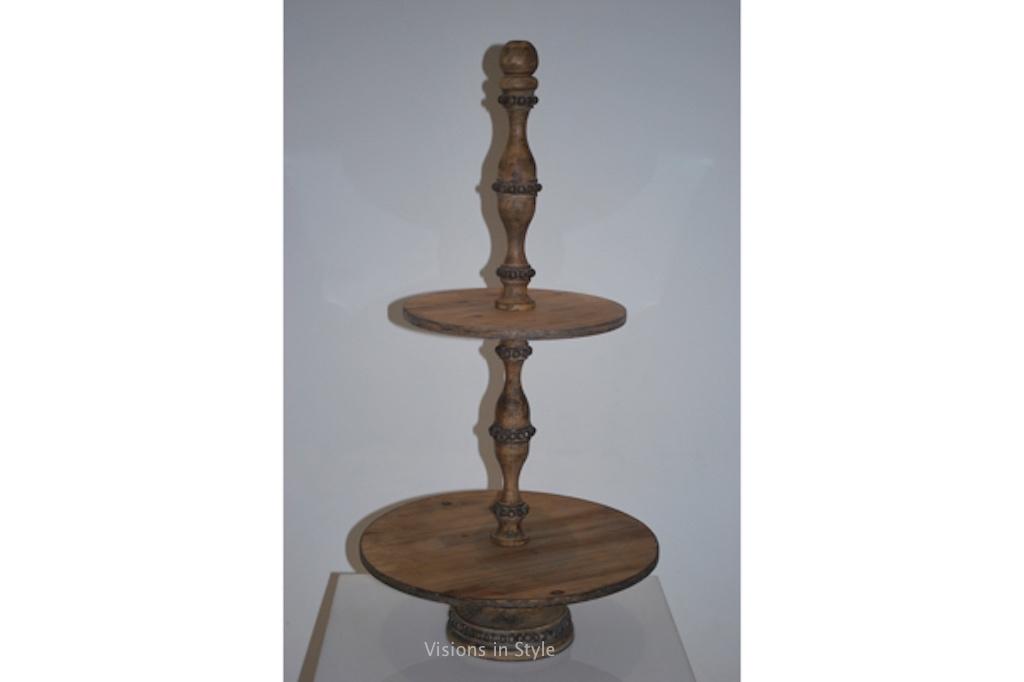 Wooden 2 tiered round cake stand