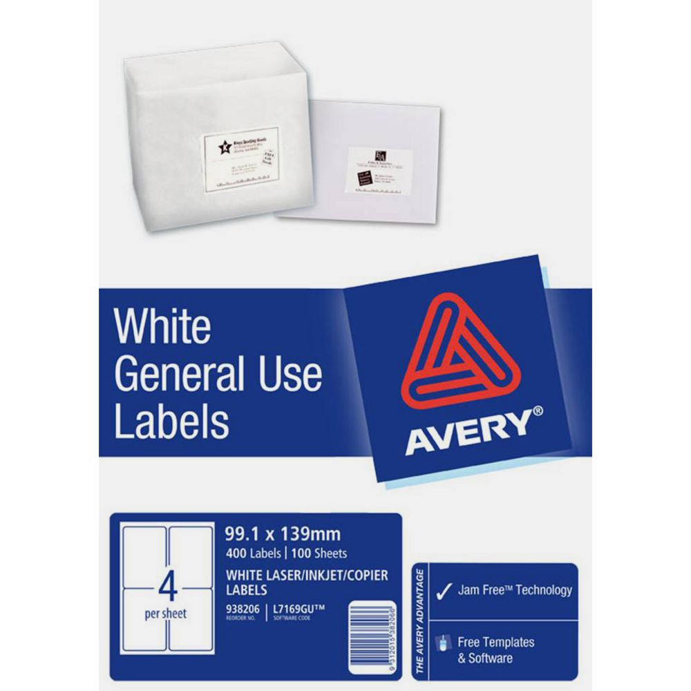 avery general use labels white 4 up 100 sheet ebay With avery 4 up labels