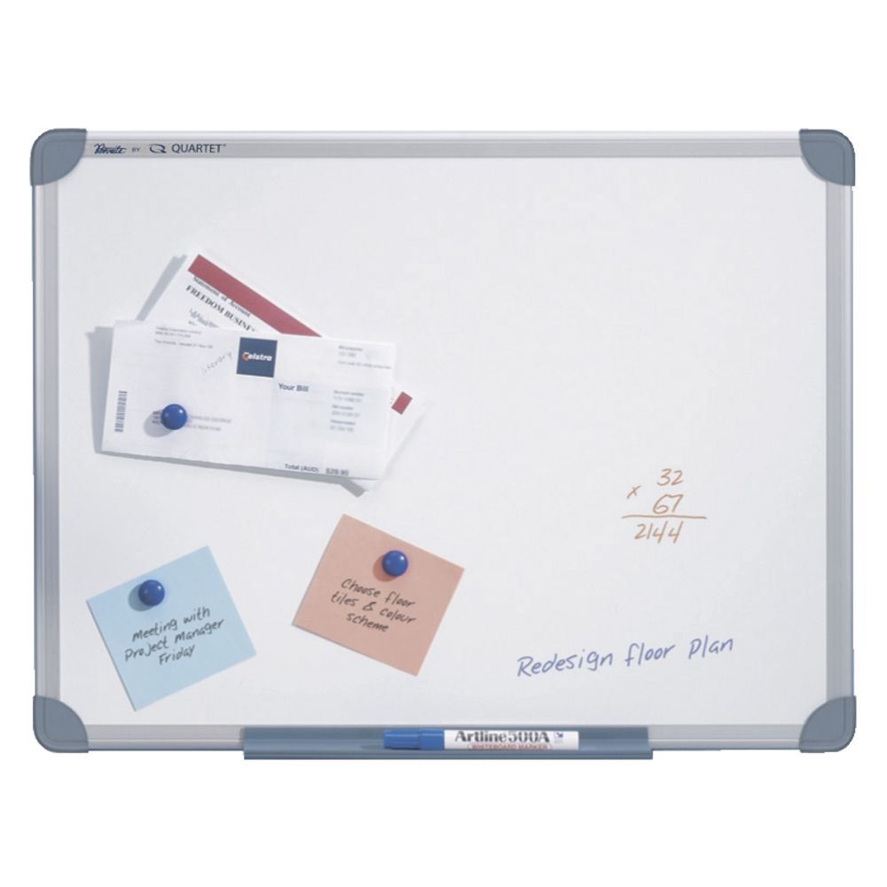 new penrite whiteboard 1200x900mm aluminium frame magnetic ebay. Black Bedroom Furniture Sets. Home Design Ideas