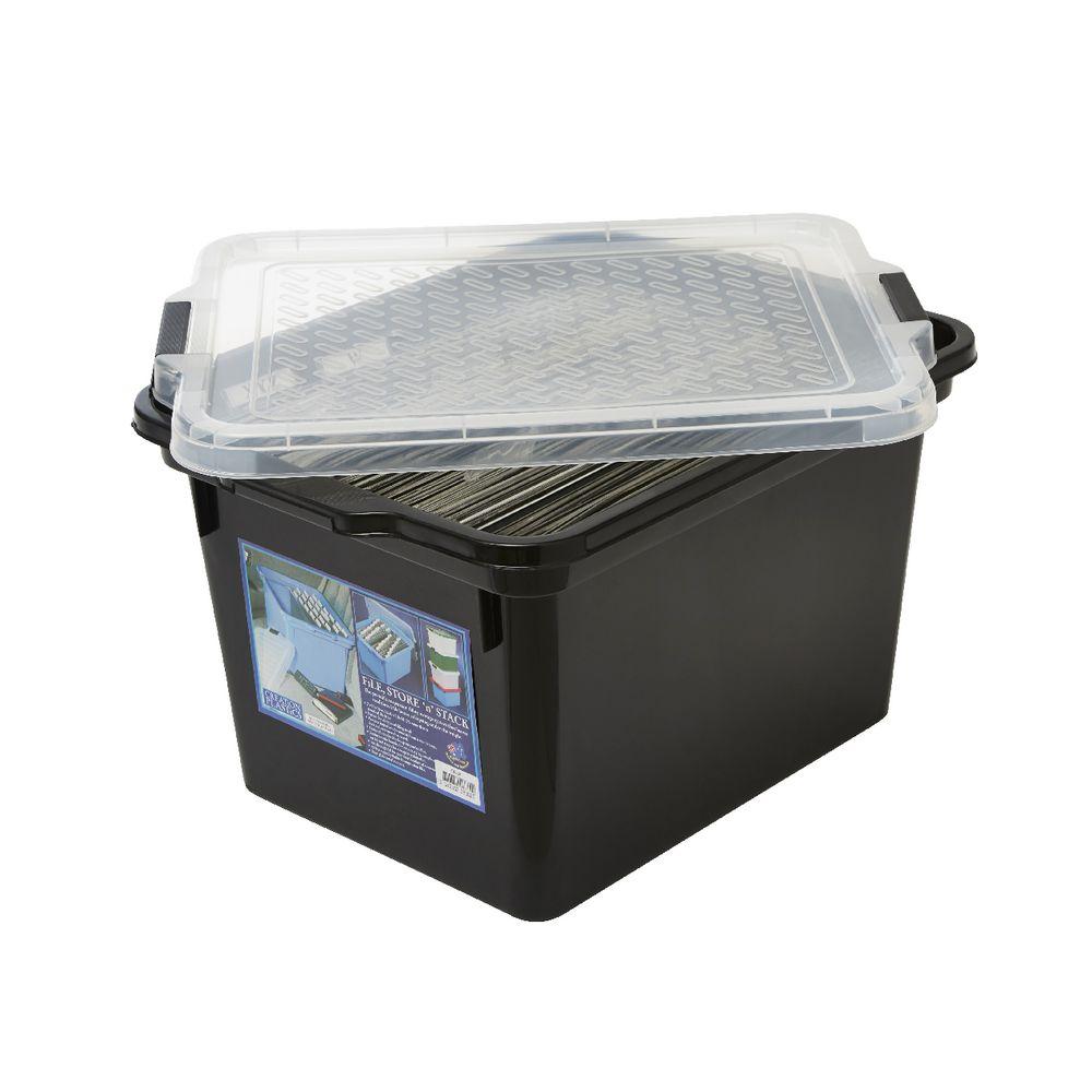 creation plastics 40 l file store n stack black boxes stack office file
