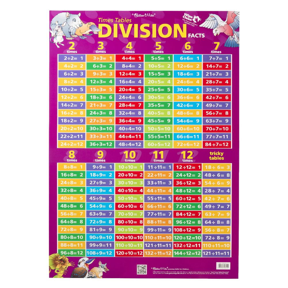 worksheet Division Tables gillian miles times tables and division facts wall chart chart