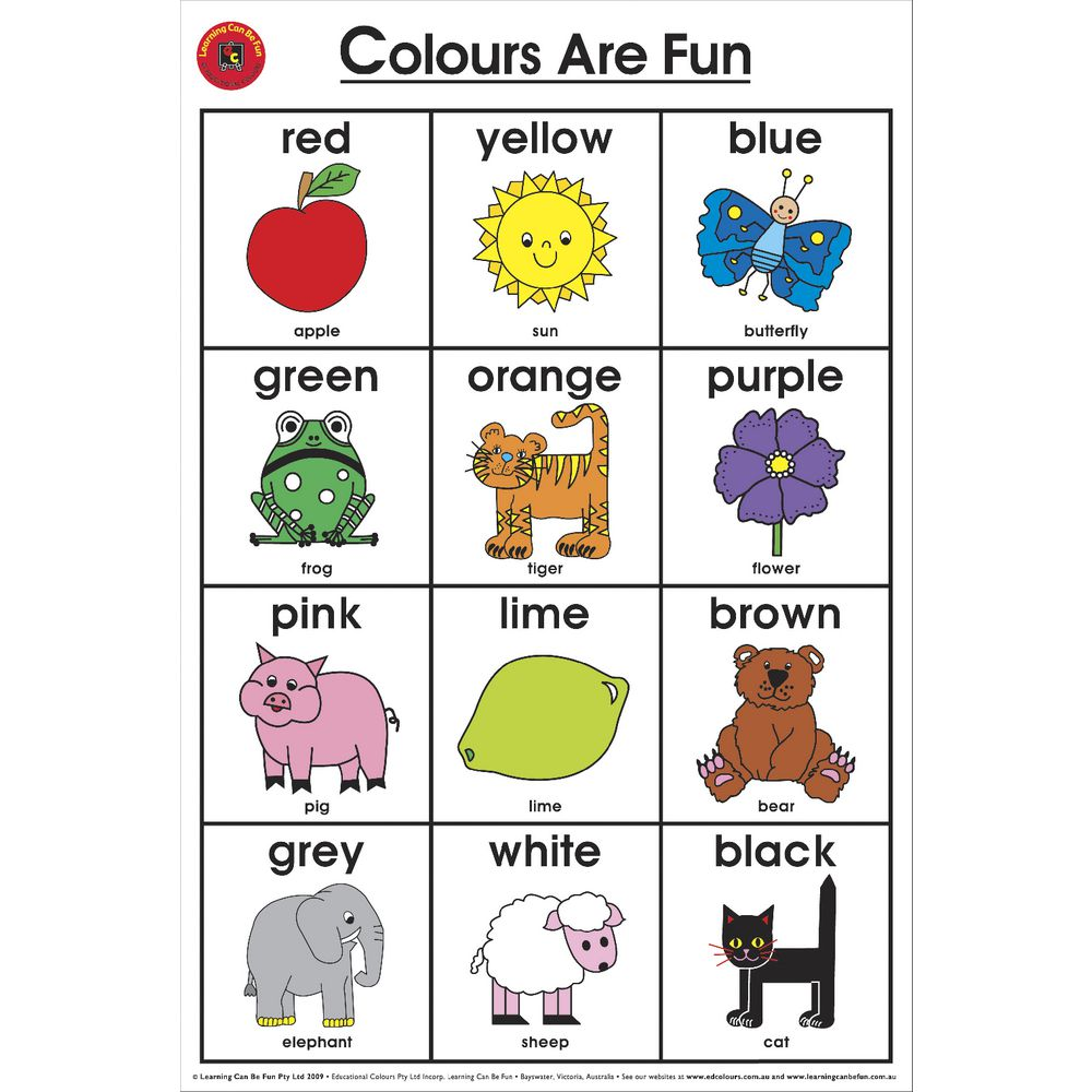 Free Worksheets home daycare tax worksheet : Learning Can Be Fun Wall Chart Colours are Fun : eBay