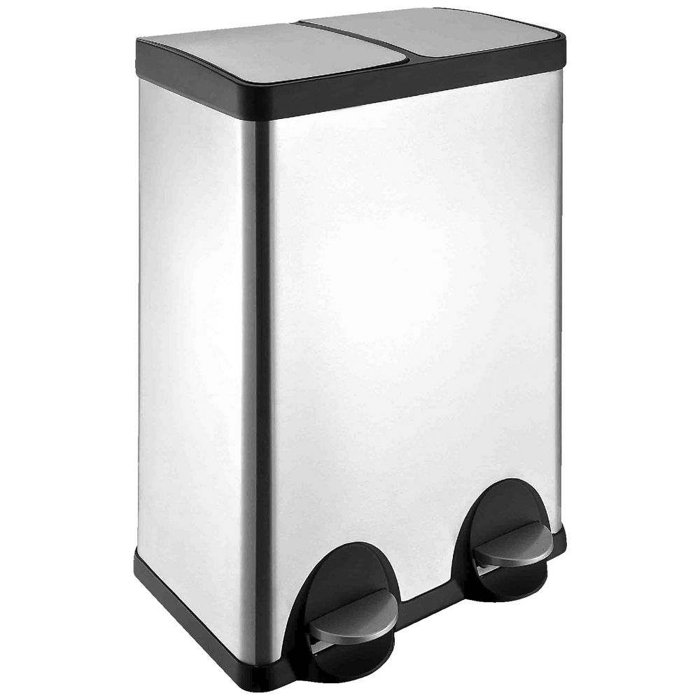 J Burrows Stainless Steel Twin Compartment Pedal Bin 60l