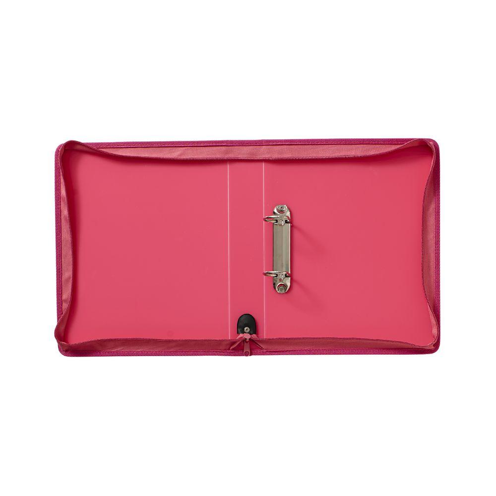 J.Burrows A4 2 D-Ring 38mm Ice Zipper Binder Pink