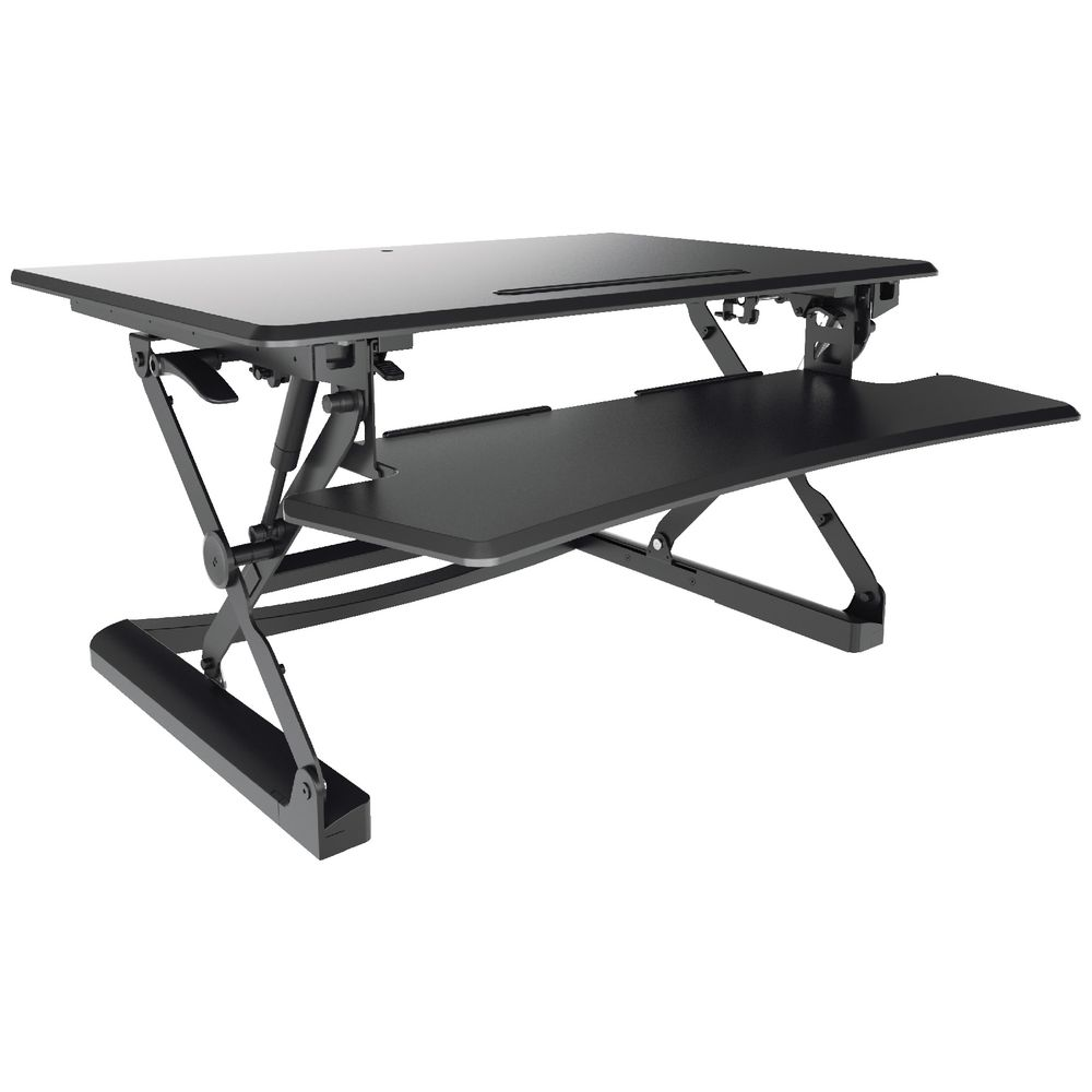 Bulk buy 10 x professional sit stand desk 890mm black - Officeworks desktop ...