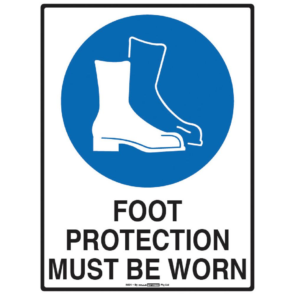 Mills Display Foot Protection Sign 225 X 300mm Ebay