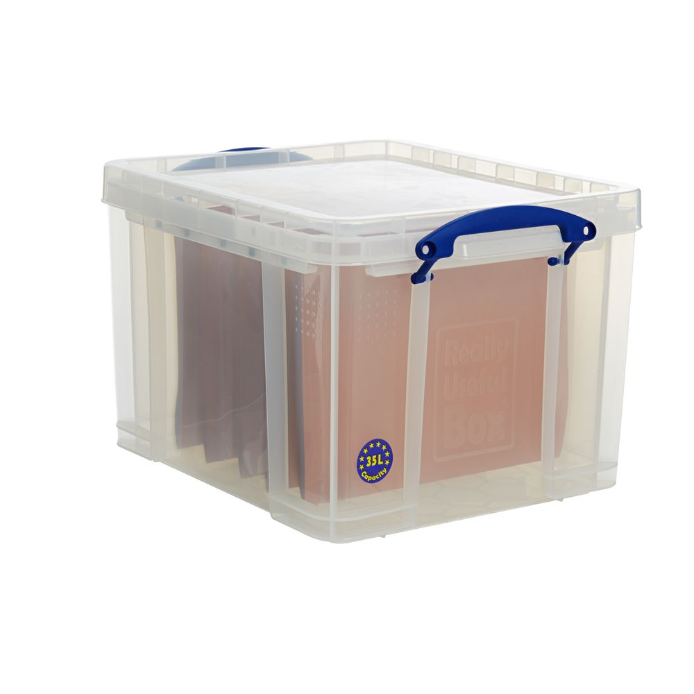 really useful 35l box clear boxes stack office file