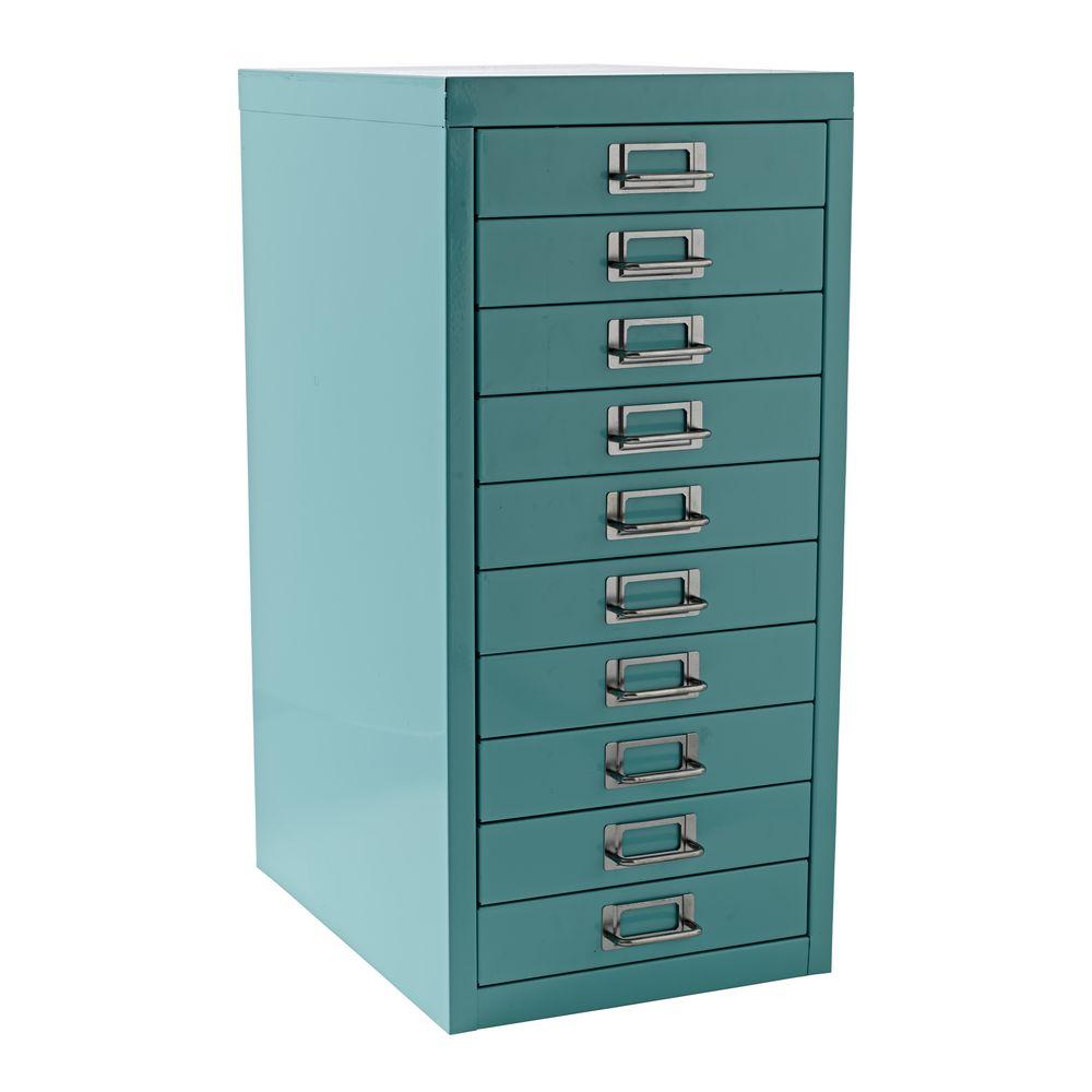 new spencer 10 drawer office filing storage cabinet a4 aqua with wheels ebay. Black Bedroom Furniture Sets. Home Design Ideas