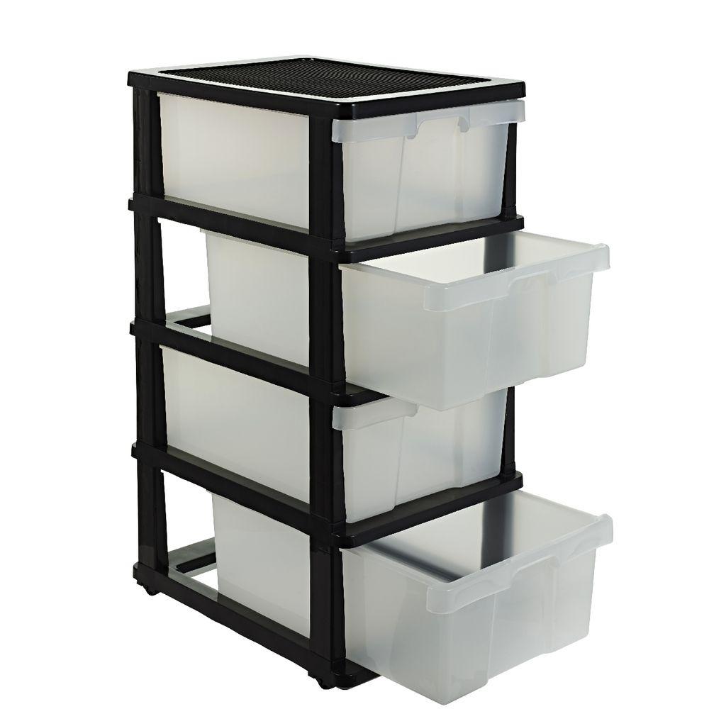 j burrows 4 drawer storage cabinet clear ebay. Black Bedroom Furniture Sets. Home Design Ideas