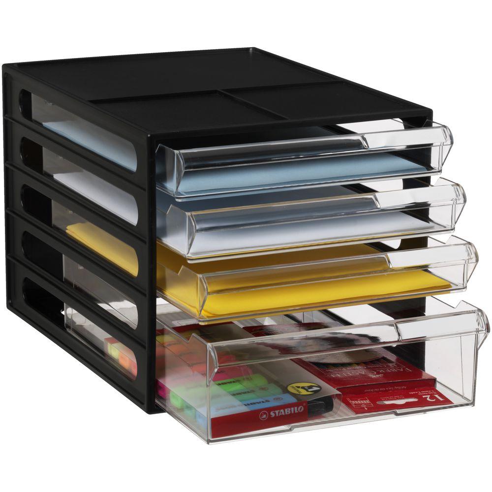 J burrows desktop file storage organiser 4 drawer black ebay - Desk drawer paper organizer ...