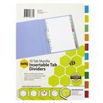 Marbig A4 Insertable Divider with 10 Coloured Tabs