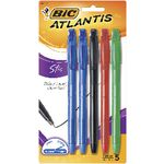 BIC Atlantis Stic Ballpoint Pens Assorted 5 Pack