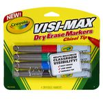 Crayola Visi-Max Whiteboard Marker Chisel Tip Assorted 4 Pack