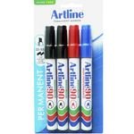 Artline 90 Permanent Markers Assorted Colours 4 Pack