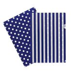 Letter File A4 Single Printed Navy Stripe