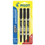 Pilot Twin End Permanent Markers Black 3 Pack