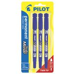 Pilot Twin End Permanent Markers Blue 3 Pack