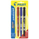 Pilot Twin End Permanent Markers Assorted 3 Pack