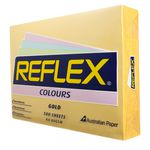 Reflex Colours 80gsm A4 Copy Paper Gold 500 Sheets