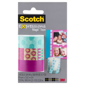 Scotch Expressions Tape 19mm x 7.6m Pink Pattern 3 Pack