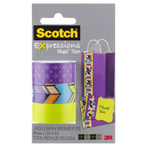 Scotch Expressions Tape 19mm x 7.6m Green Pattern 3 Pack