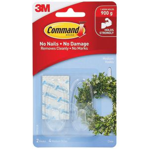 Command Medium Clear Hooks With Clear Strips