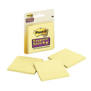 Post-it Super Sticky Notes Yellow 3 Pack