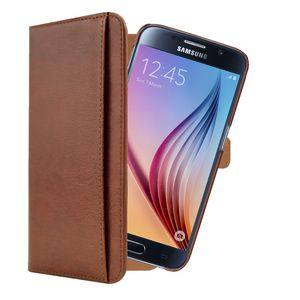 3SIXT Premium Leather Wallet Samsung Galaxy S6 Brown