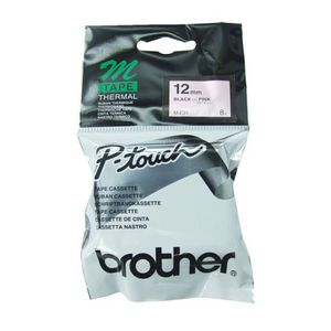 Brother Thermal M Tape 12mm x 8m Black on Pink