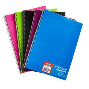 Value A4 Spiral PP Notebook 120 Pages 5 Pack