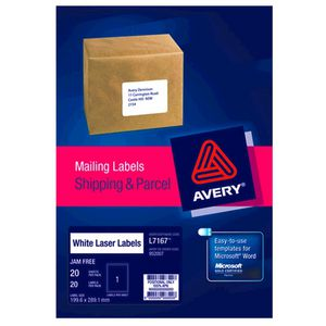 Avery White Laser Labels 20 Pack
