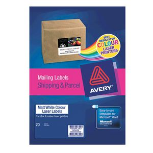 Avery Matte Colour Laser Mailing Labels 63.5 x 38.1mm 20 Pack